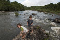 The boys from Guacamallo Bridge over Macal River in the Belize high lands.