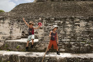My boys in Xunantunich, Belize.