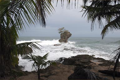 The rock in wild Caribbean Sea, Manzanilla, Costa Rica.