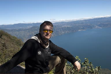 On top of San Pedro Volcano. Lake Atitlan below.