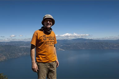 Over Lake Atitlan. Me and sun hat.