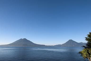 Lake Atitlan from Panajachel, Vocanos San Pedro right, Toliman, Atitlan left.