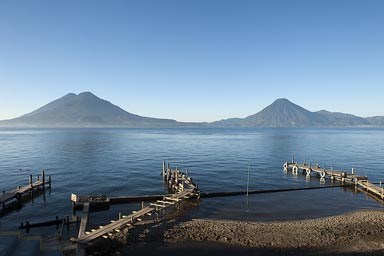 Piers on Lake Atitlan, Panajachel. Volcanoes San Pedro, Toliman, Atitlan in back.