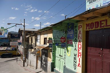 Colorful, painted houses, San Marcos, Guatemala, Western Highlands.