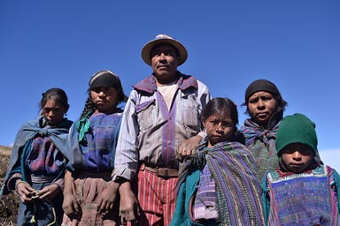 Mam family in mountains. Guatemala Highlands.