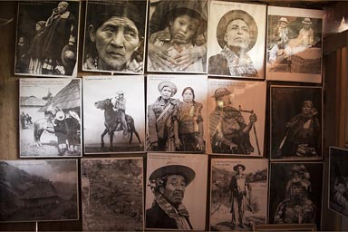 Old photos in the museum, Todos Santos, Guatemala.