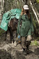 C. and mule on El-Mirador trail, Peten Guatemala..