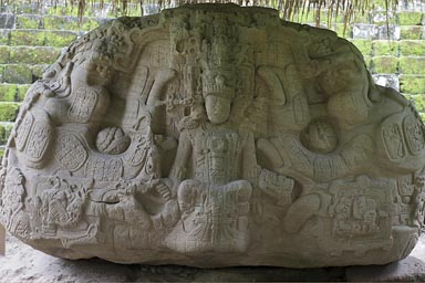 Huge junk of a stone, Quirigua, Maya relief.