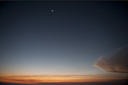 Moon, Venus, clouds, twilight.