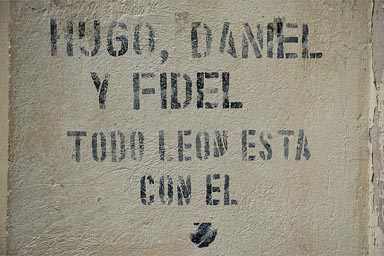 All of Leon is with them, graffiti on house wall in Leon, Nicaragua.