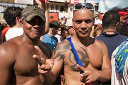 Two guys, body art, las Tablas, Panama.