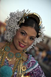 Queen on carnival, in pollera, Las Tablas, Panama.