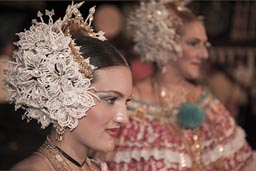 Eleborate head gear, tembleques, pollera dresses, Carnival de Panama in Las Tablas.