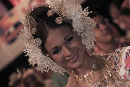 Style of coiffure, hairdress, eleborate, Tembleques, pearls, jewelery in head gear, carnival queen, Las Tablas, Panama.