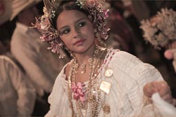 Golden pollera and tembleque beauty, Carnival Panama.