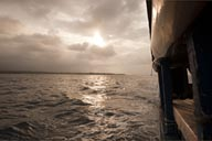 Sailing the quiet waters. Guna Yala Sea between the islands.