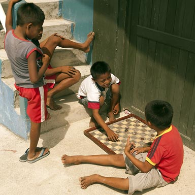 Checkers played by Guna children on San Blas island, Panama.