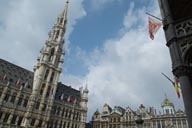 Brussels, day and flags.
