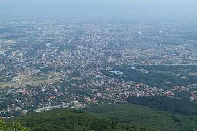 Sofia in haze, view from Vitosha mountain.