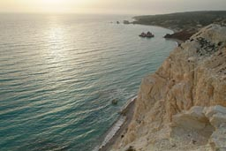 Sunset and white cliffs, Cyprus.
