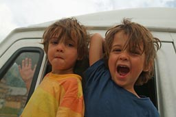 My twin boys Daniel and David, look out from our MB307 van, Col d'Allos, France.