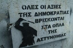 Graffiti, against police repressions of autonomous lefts.