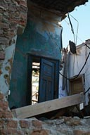 House in ruins, blue door, Thessaloniki