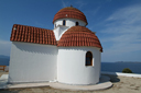 White orthodox chapel, Chalkidiki, Greece.