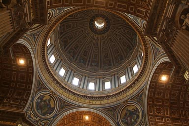 Cupola inside of Saint Peter Basilica, Rome.