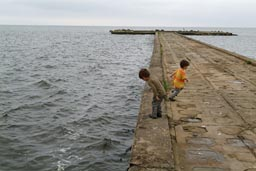 Pier, Ventes, Lithuania, my boys.