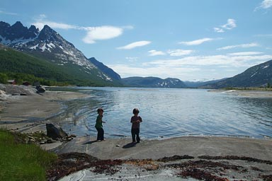 Boys after shower in lake, Norway.
