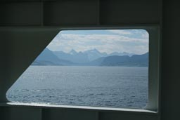 Fjord and snowy mountains from ferry.