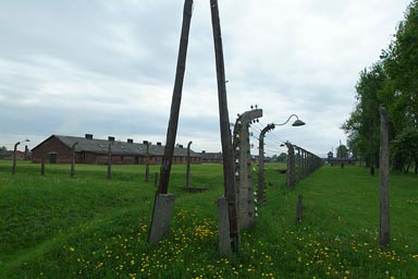 Auschwitz Birkenau, fence, lighting.