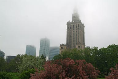 Warsaw, cultural palace in clouds.