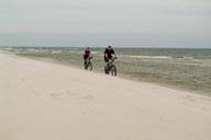 Bikers on beach.
