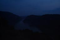 Night falls over Danube, Iron Gate. Serbia.