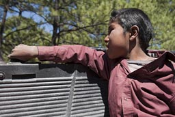 Raramuri boy on back of pick-up truck, Copper Canyon.