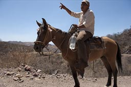Man on horse gives directions, Urique Canyon.