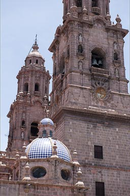 Towers of Morelia cathedral.