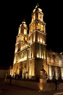Campeche cathedral beutifully lit at night.