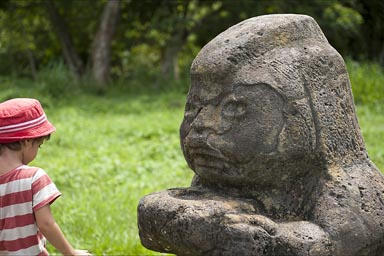 La Venta, Tabasco, colossal heads, just a replica of Olmec culture giant heads and statues.