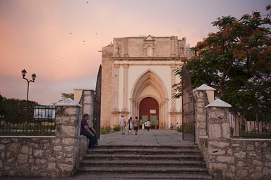 Uman church evening, rose sky. Yucatan.