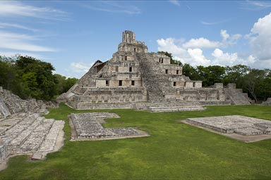 Edzna, Edificio de los Cinco Pisos. Maya archaeological site in Campeche, Mexico.