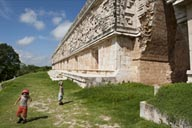 Long facade of Governor's Palace, Uxmal, Mexico.