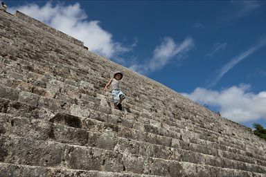 Uxmal, many steps lead up then down from the Great Pyramid.