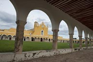 Arcades around atrium, Izamal, biggest after St. Peter in Rome.