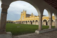 Izamal courtyard, Convento de San Antonio de Padua, view from right, Yucatan, atop Maya ruins.