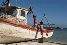 A case is put in place to mounta boat on Santa Clara beach, Yucatan.