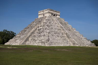 The sunny sides of great Pyramid in Chichen Itza, Early morning. South side is not restored.