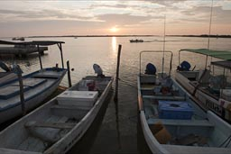 Rio Lagartos, boats in evening.